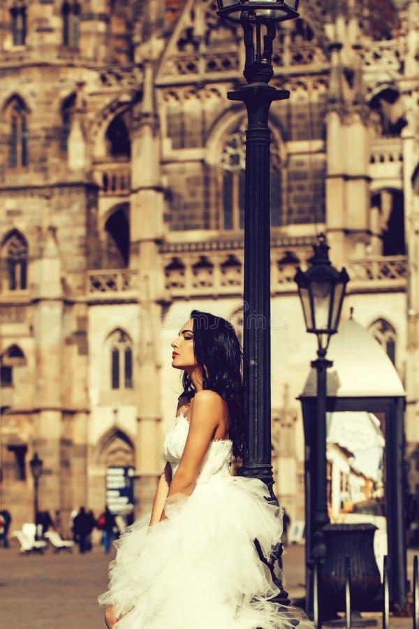 Όμορφη νύφη στο γαμήλιο φόρεμα στοκ εικόνα