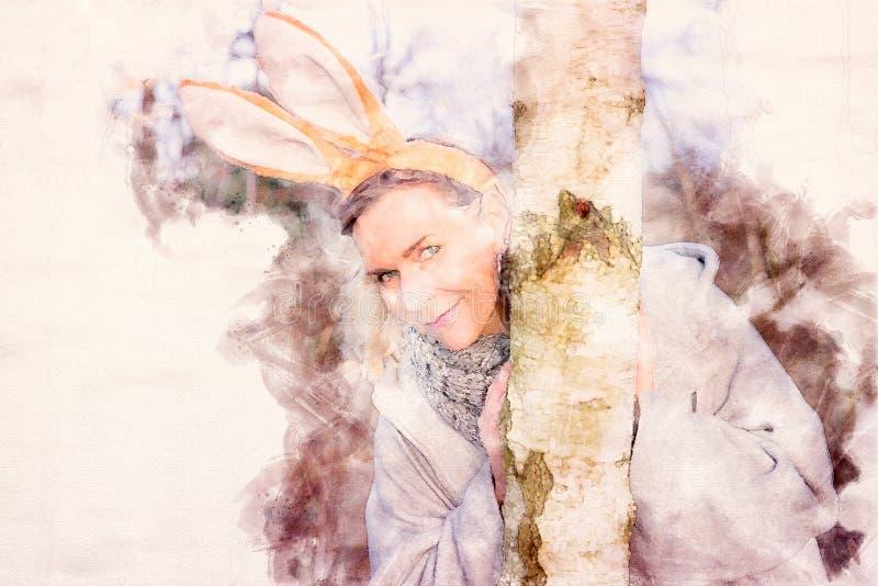 Όμορφη ξανθή γυναίκα στο πάρκο με τα αυτιά λαγουδάκι διανυσματική απεικόνιση