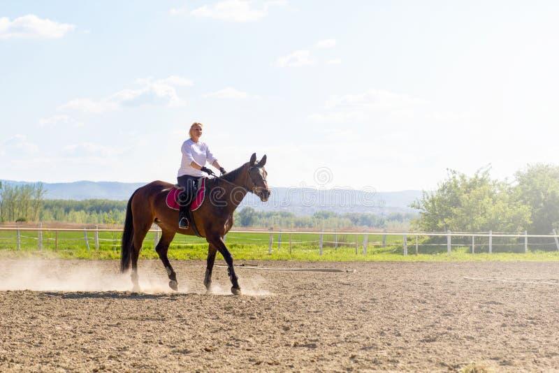 Όμορφη ξανθή γυναίκα που οδηγά ένα άλογο στην επαρχία στοκ εικόνες με δικαίωμα ελεύθερης χρήσης