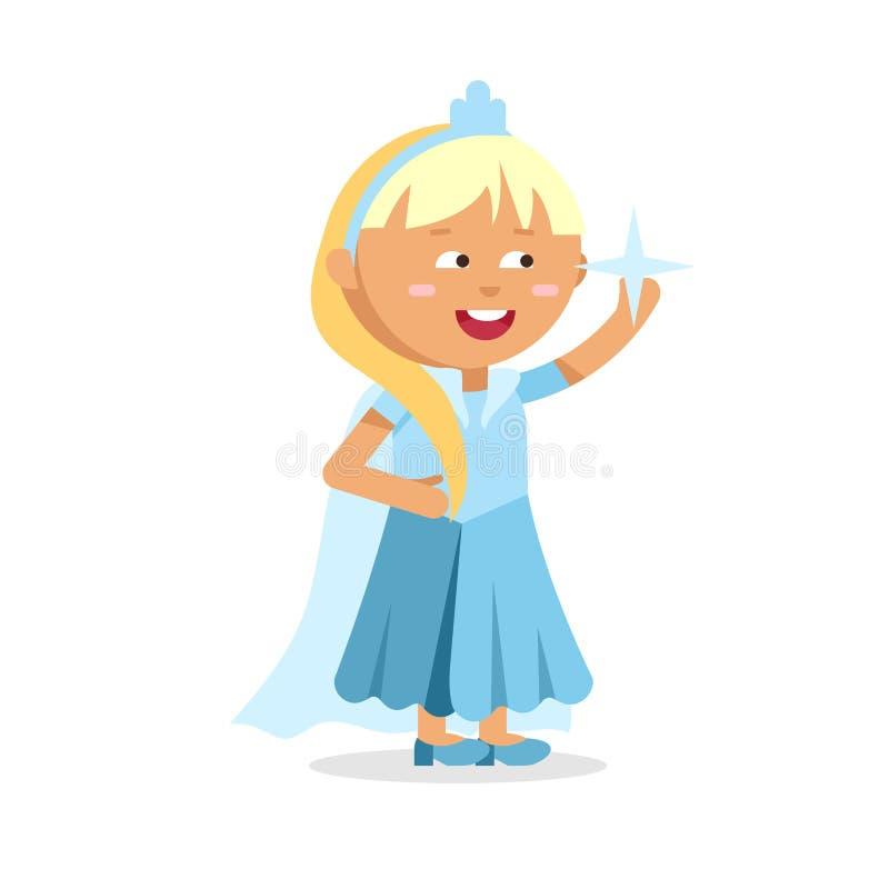 Όμορφη ξανθή πριγκήπισσα Cinderella στο μπλε φόρεμα ελεύθερη απεικόνιση δικαιώματος