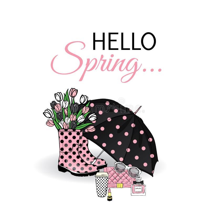 Όμορφη ομπρέλα, λαστιχένιες μπότες με τις τουλίπες, τσάντα και κραγιόν Διανυσματική απεικόνιση για μια κάρτα ή μια αφίσα Τυπωμένη απεικόνιση αποθεμάτων
