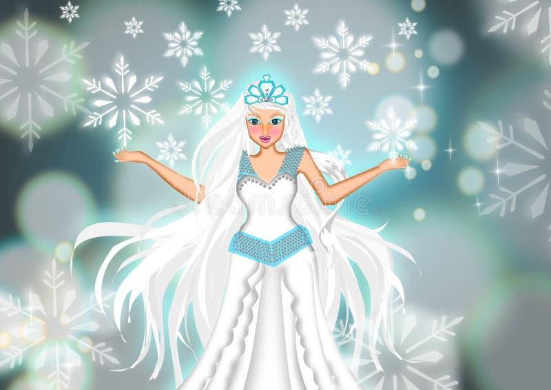 Όμορφη παγωμένη βασίλισσα στην άσπρη κρύα σκηνή πάγου ελεύθερη απεικόνιση δικαιώματος