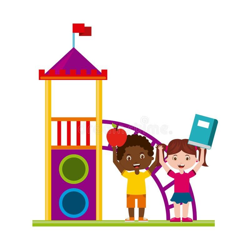 Όμορφη παιδική χαρά παιδιών με το παιχνίδι βιβλίων απεικόνιση αποθεμάτων