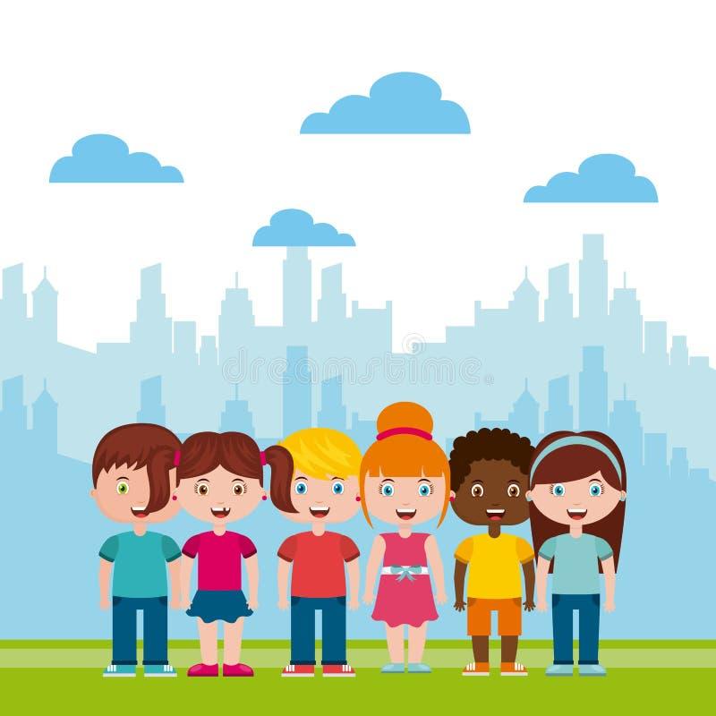 Όμορφη παιδική χαρά παιδιών με το παιχνίδι παιδιών απεικόνιση αποθεμάτων