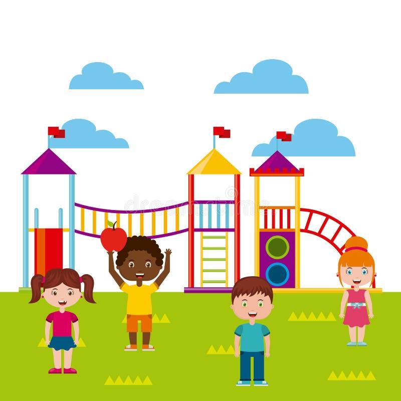Όμορφη παιδική χαρά παιδιών με το παιχνίδι παιδιών ελεύθερη απεικόνιση δικαιώματος