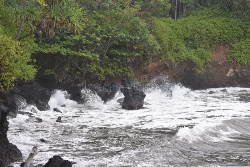 Όμορφη παράκτια ακτή στη Χαβάη με τα κύματα που συντρίβουν αργά στην ακτή στοκ εικόνες με δικαίωμα ελεύθερης χρήσης