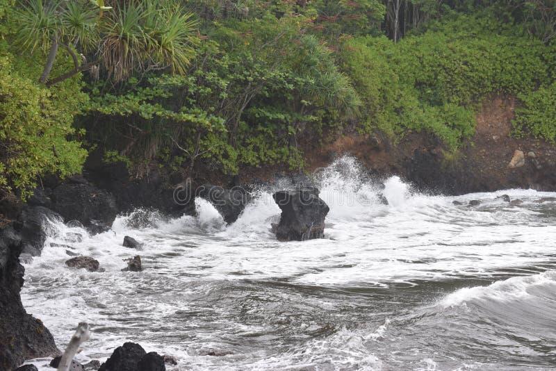 Όμορφη παράκτια ακτή στη Χαβάη με τα κύματα που συντρίβουν αργά στην ακτή στοκ εικόνες