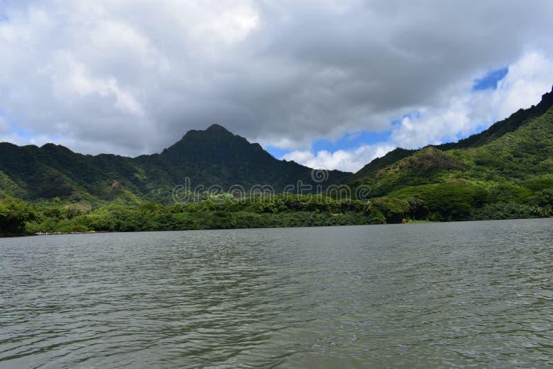 Όμορφη παράκτια ακτή στη Χαβάη με τα κύματα που συντρίβουν αργά στην ακτή στοκ φωτογραφίες