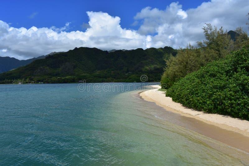 Όμορφη παράκτια ακτή στη Χαβάη με τα κύματα που συντρίβουν αργά στην ακτή στοκ φωτογραφία