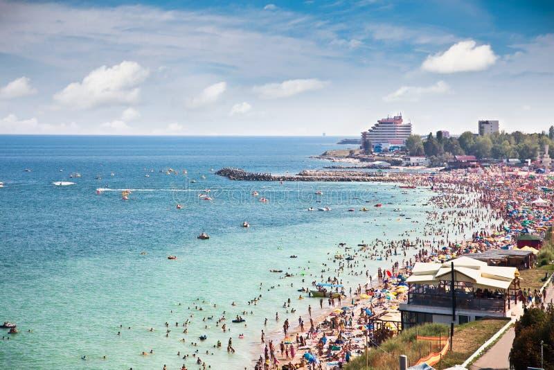Όμορφη παραλία άμμου σε Costinesti, Constanta, Ρουμανία στοκ εικόνες