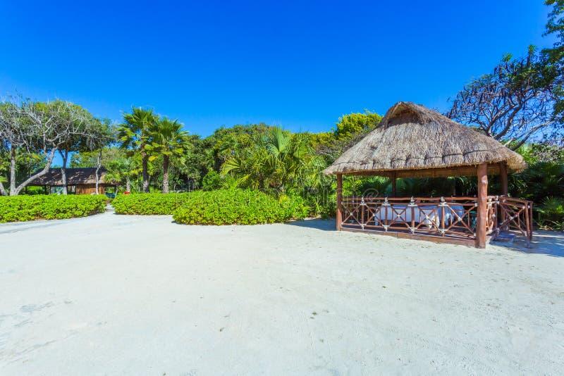 Όμορφη παραλία Xcaret cancun Μεξικό στοκ εικόνα