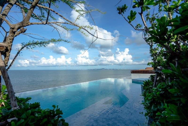 Όμορφη πισίνα και μπλε νερό στο θέρετρο με την όμορφη άποψη θάλασσας Λίμνη παραλιών στοκ φωτογραφία με δικαίωμα ελεύθερης χρήσης