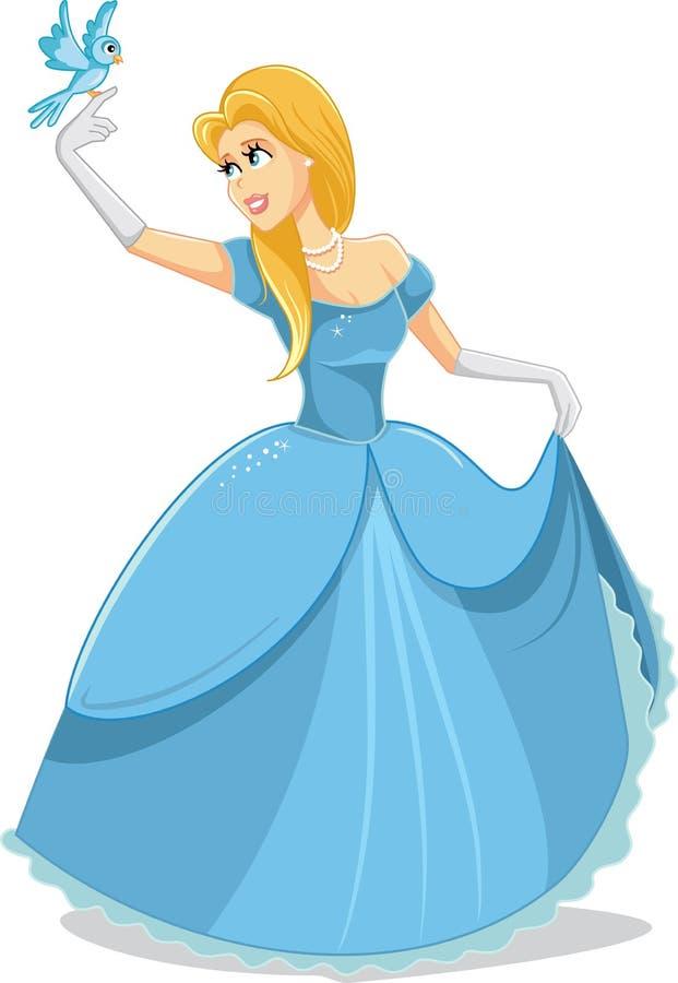 Όμορφη πριγκήπισσα με τη μαγική διανυσματική απεικόνιση πουλιών ελεύθερη απεικόνιση δικαιώματος
