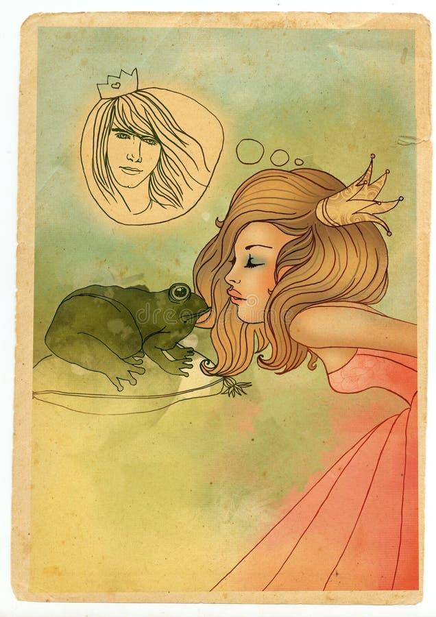 όμορφη πριγκήπισσα φιλήματ&o απεικόνιση αποθεμάτων