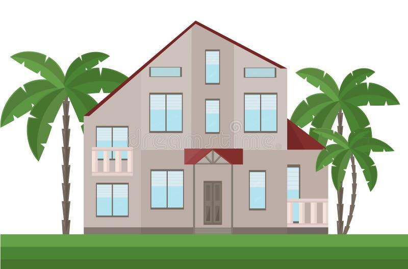 Όμορφη πρόσοψη αρχιτεκτονικής σπιτιών και διάνυσμα φοινίκων απεικόνιση αποθεμάτων
