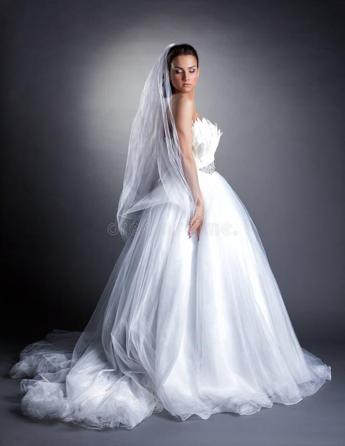 Όμορφη πρότυπη τοποθέτηση στο πολύβλαστο γαμήλιο φόρεμα στοκ φωτογραφίες με δικαίωμα ελεύθερης χρήσης