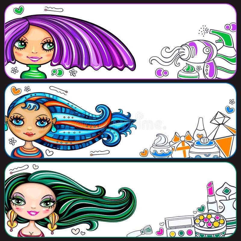 Όμορφη σειρά εμβλημάτων κοριτσιών ελεύθερη απεικόνιση δικαιώματος