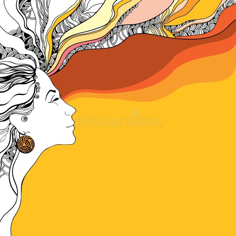 Όμορφη σκιαγραφία γυναικών στο πορτοκαλί κυματιστό υπόβαθρο απεικόνιση αποθεμάτων