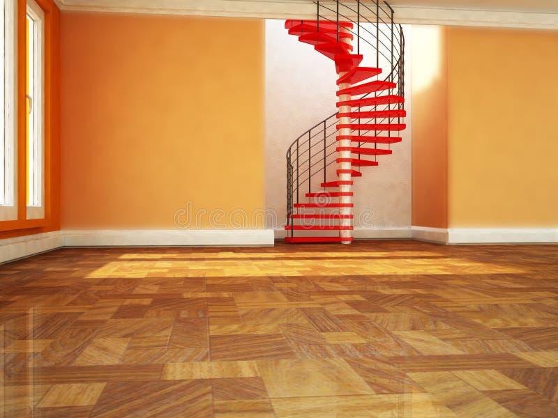 Όμορφη σπειροειδής σκάλα στο δωμάτιο διανυσματική απεικόνιση