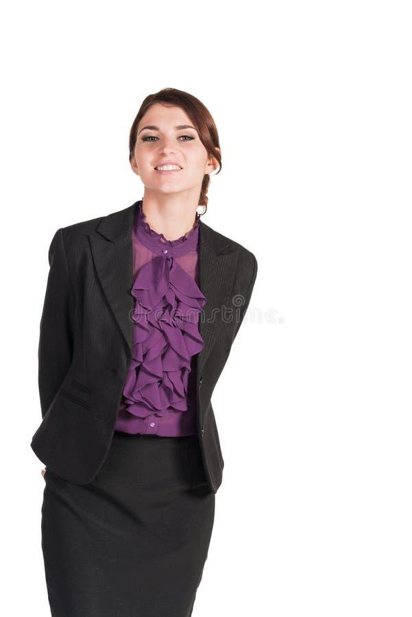 Όμορφη στάση επιχειρησιακών γυναικών που απομονώνεται στοκ φωτογραφίες