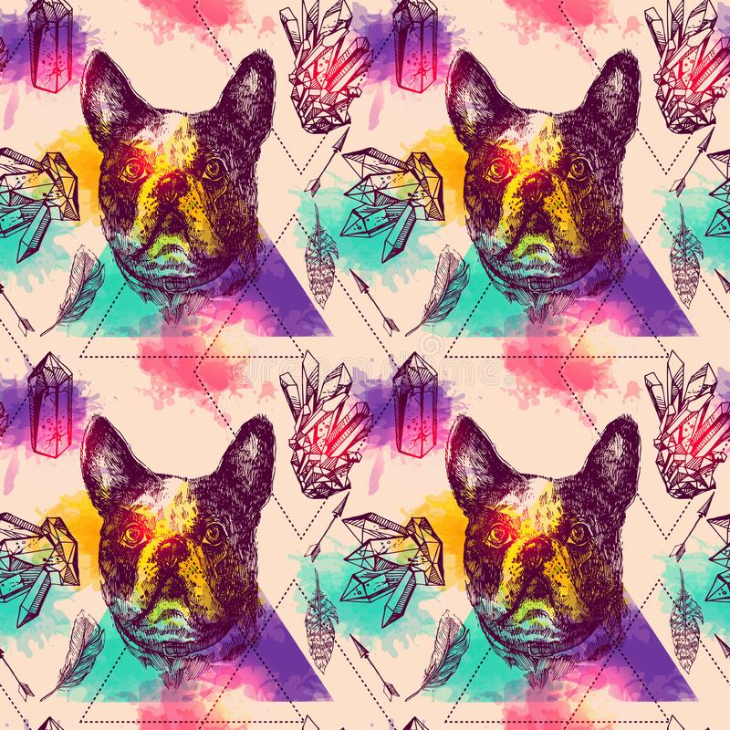 Όμορφη συρμένη χέρι διανυσματική άνευ ραφής σκιαγράφηση σχεδίων του σκυλιού διανυσματική απεικόνιση