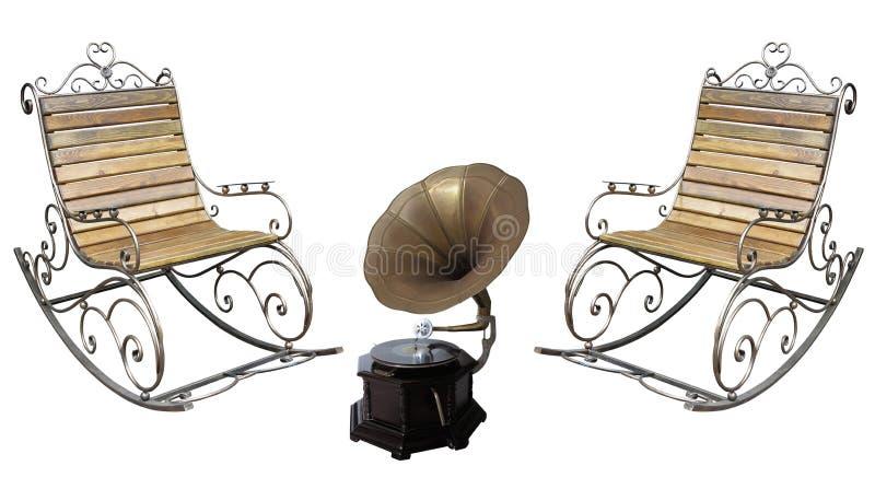 Όμορφη σφυρηλατημένη metall roching καρέκλα και εκλεκτής ποιότητας gramophone REC στοκ εικόνες