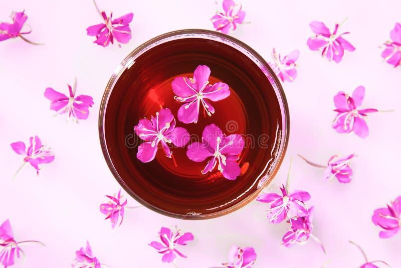 Όμορφη σύνθεση του τσαγιού από βότανα και των φρέσκων λουλουδιών στοκ φωτογραφία