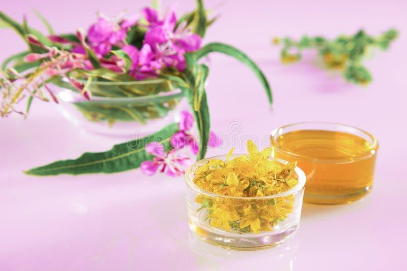 Όμορφη σύνθεση φρέσκων βοτάνων και λουλουδιών και μελιού στοκ εικόνες
