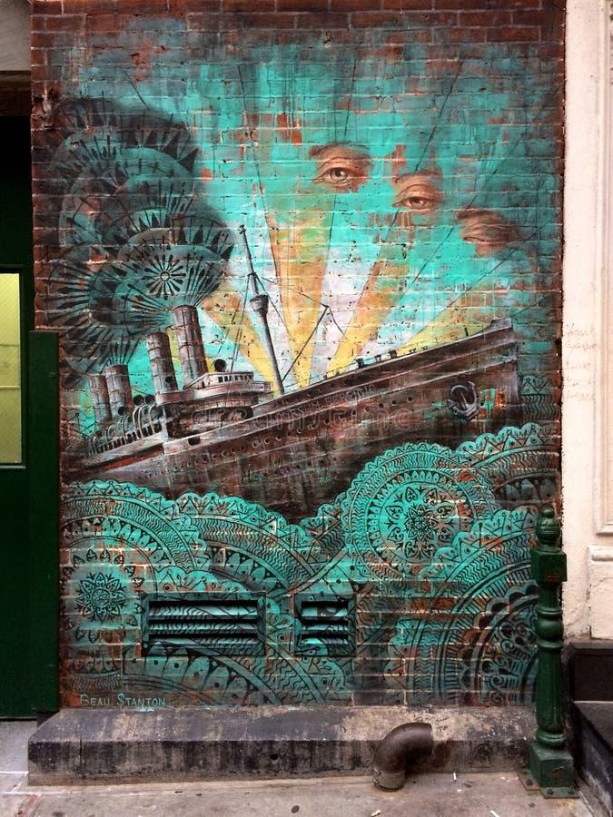 Όμορφη τοιχογραφία σκαφών NYC στοκ εικόνα με δικαίωμα ελεύθερης χρήσης