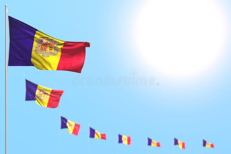 Όμορφη τρισδιάστατη απεικόνιση σημαιών διακοπών - πολλοί τοποθετημένη σημαίες διαγώνιος της Ανδόρας με τη μαλακή εστίαση και κενή διανυσματική απεικόνιση