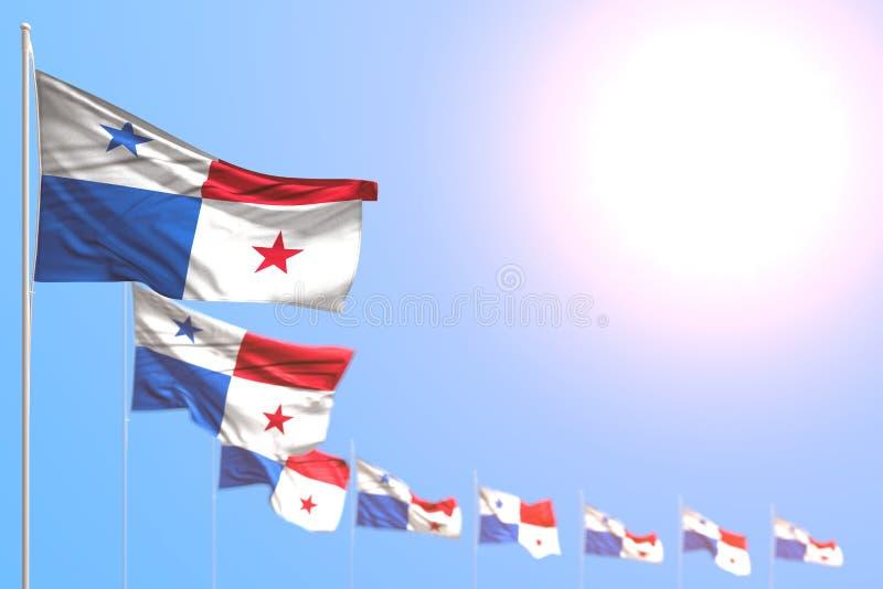 Όμορφη τρισδιάστατη απεικόνιση σημαιών διακοπών - πολλοί τοποθετημένη σημαίες διαγώνιος του Παναμά με το bokeh και κενή θέση για  ελεύθερη απεικόνιση δικαιώματος