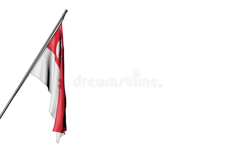 Όμορφη τρισδιάστατη απεικόνιση σημαιών εθνικής εορτής - ένωση σημαιών της Σιγκαπούρης στο α στον πόλο γωνιών που απομονώνεται στο διανυσματική απεικόνιση