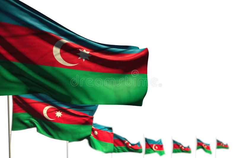 Όμορφη τρισδιάστατη απεικόνιση σημαιών Εργατικής Ημέρας - απομονωμένες οι το Αζερμπαϊτζάν σημαίες τοποθέτησαν τη διαγώνιος, εικόν ελεύθερη απεικόνιση δικαιώματος