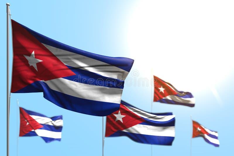 Όμορφη τρισδιάστατη απεικόνιση σημαιών ημέρας μνήμης - 5 σημαίες της Κούβας κυματίζουν ενάντια στην απεικόνιση μπλε ουρανού με τη διανυσματική απεικόνιση