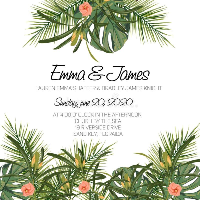 Όμορφη τροπική γαμήλια πρόσκληση Καθιερώνον τη μόδα σχέδιο θερινών τροπικό φύλλων ελεύθερη απεικόνιση δικαιώματος
