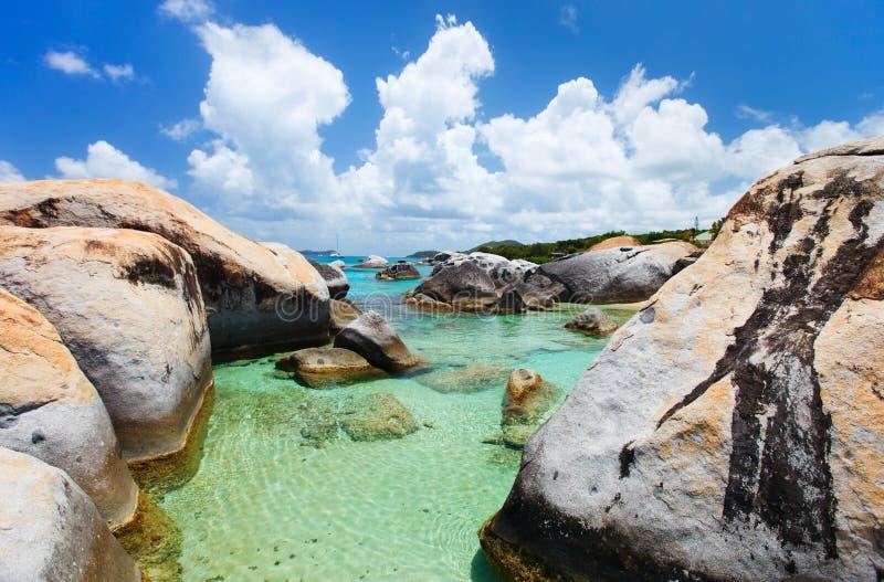 Όμορφη τροπική παραλία στις Καραϊβικές Θάλασσες στοκ εικόνες με δικαίωμα ελεύθερης χρήσης