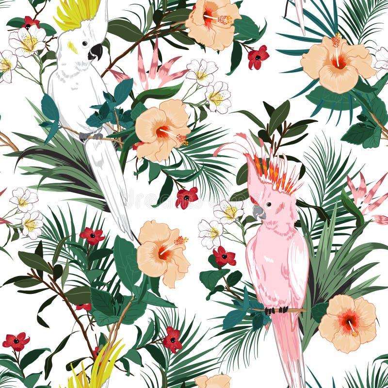 Όμορφη τροπική floral τυπωμένη ύλη Πουλί παπαγάλων στη ζούγκλα και το φ διανυσματική απεικόνιση