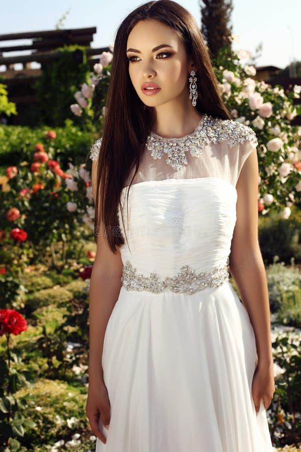 Όμορφη τρυφερή νύφη με τη σκοτεινή τρίχα στο κομψό γαμήλιο φόρεμα στοκ εικόνα με δικαίωμα ελεύθερης χρήσης