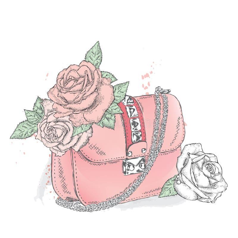 Όμορφη τσάντα με μια ανθοδέσμη των λουλουδιών Γυναικείος συμπλέκτης απεικόνιση αποθεμάτων