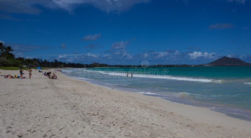 Όμορφη φυσική τροπική παραλία Oahu Χαβάη Kailua στοκ φωτογραφία με δικαίωμα ελεύθερης χρήσης