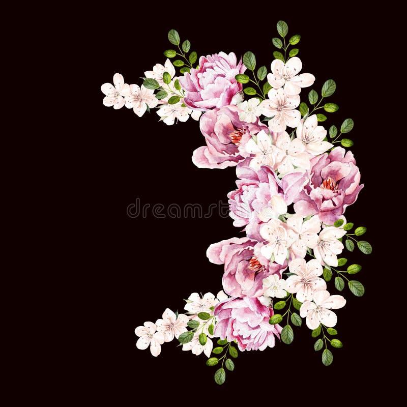 Όμορφη φωτεινή ανθοδέσμη watercolor με τα peony λουλούδια διανυσματική απεικόνιση
