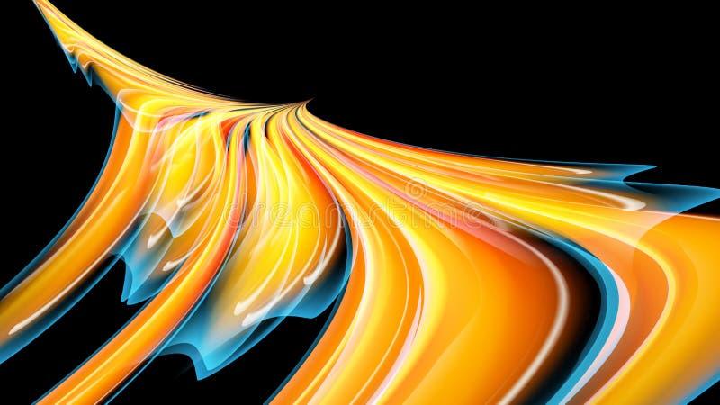 Όμορφη φωτεινή κίτρινη πορτοκαλιά αφηρημένη ενεργητική μαγική κοσμική φλογερή σύσταση, πουλί του Φοίνικας από τις γραμμές και τα  ελεύθερη απεικόνιση δικαιώματος
