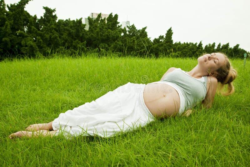 Όμορφη χαλάρωση εγκύων γυναικών στη χλόη στοκ φωτογραφίες