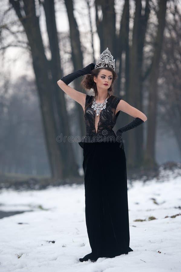 Όμορφη χειμερινή βασίλισσα παραμυθιού στο δάσος με τη λαμπιρίζοντας τιάρα και το κομψό μαύρο παλτό γουνών στοκ φωτογραφία με δικαίωμα ελεύθερης χρήσης