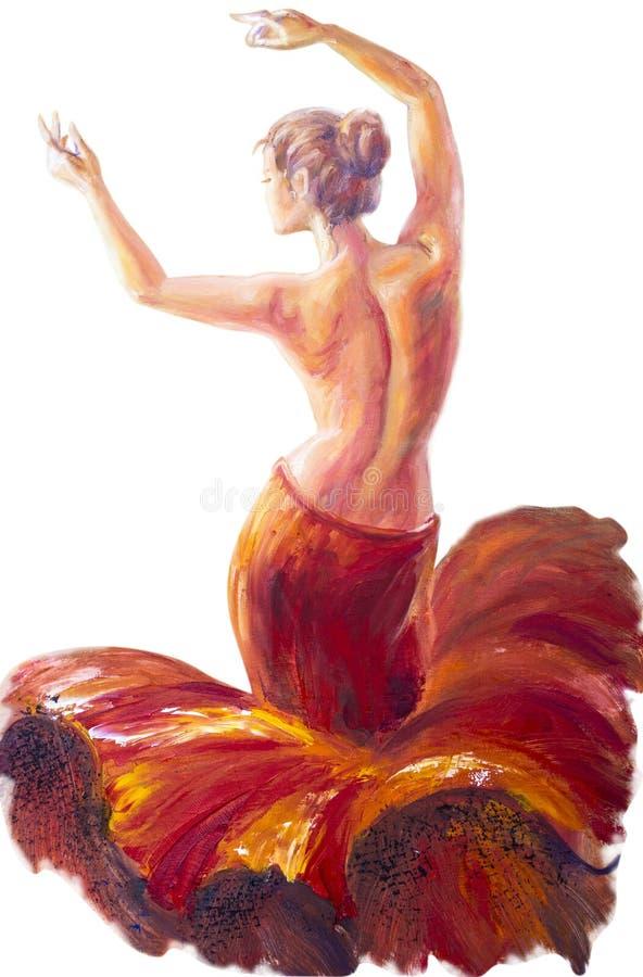 Όμορφη χορεύοντας γυναίκα στο κόκκινο δασικός ποταμός ελαιογραφίας τοπίων απεικόνιση αποθεμάτων