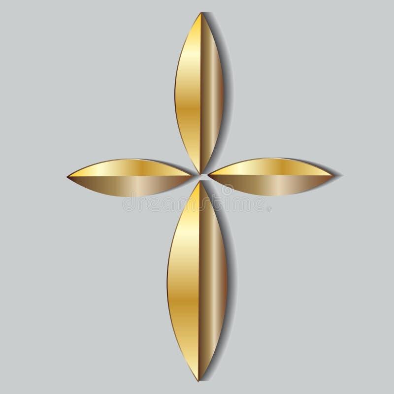 Όμορφη χρυσή διαγώνια μορφή φύλλων λογότυπων εικονιδίων απεικόνιση αποθεμάτων