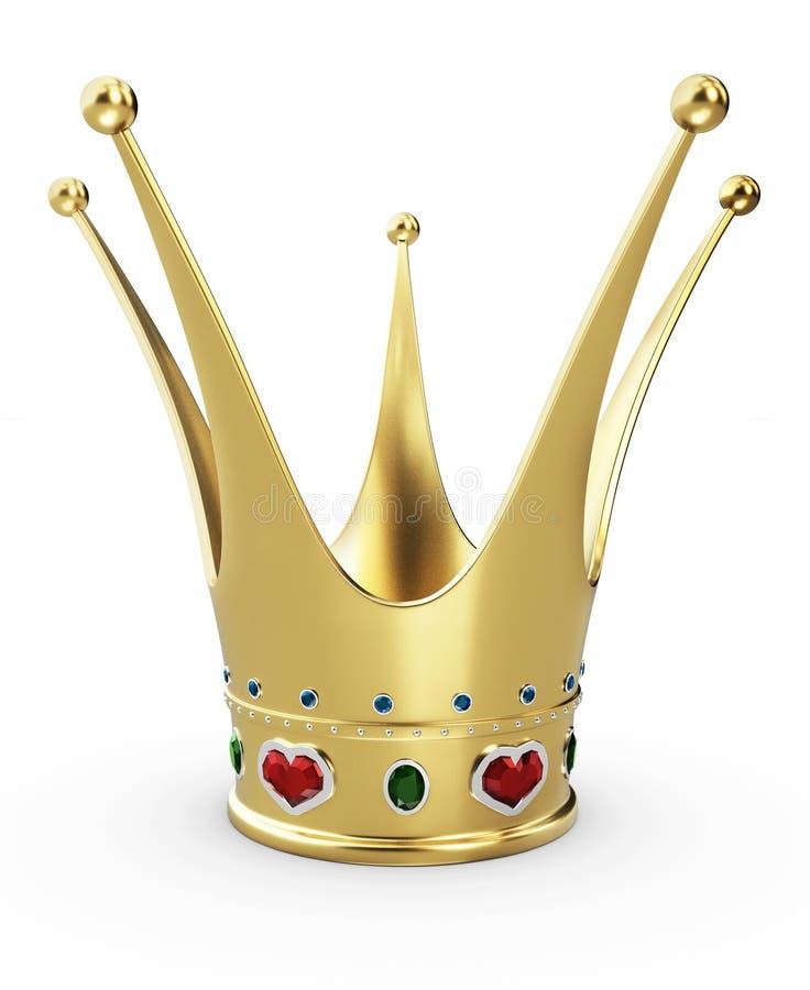 Όμορφη χρυσή κορώνα πριγκηπισσών με τις κόκκινες ροδοκόκκινες καρδιές τρισδιάστατη απεικόνιση στοκ φωτογραφία