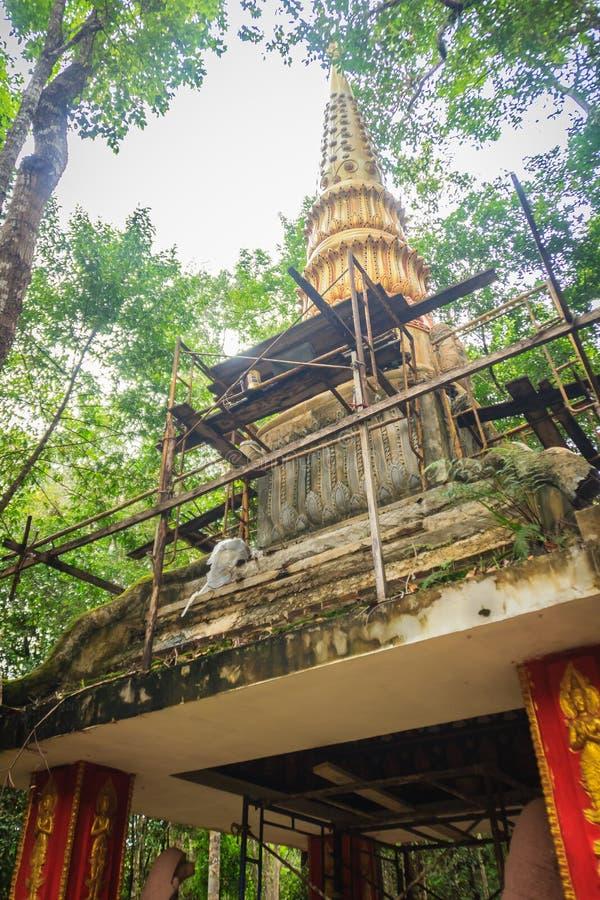 Όμορφη χρυσή παγόδα με τις διακοσμητικές ταϊλανδικές Καλές Τέχνες ύφους σε δημόσιο βουδιστικό Wat Phu Phlan που τραγουδιούνται, N στοκ φωτογραφίες με δικαίωμα ελεύθερης χρήσης