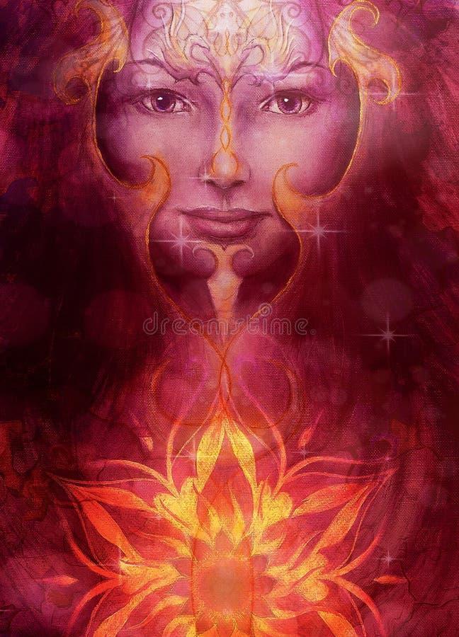 Όμορφη χρωματίζοντας γυναίκα θεών με διακοσμητικό διανυσματική απεικόνιση