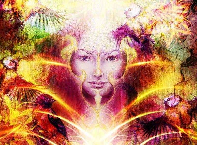 Όμορφη χρωματίζοντας γυναίκα θεών με διακοσμητικό απεικόνιση αποθεμάτων